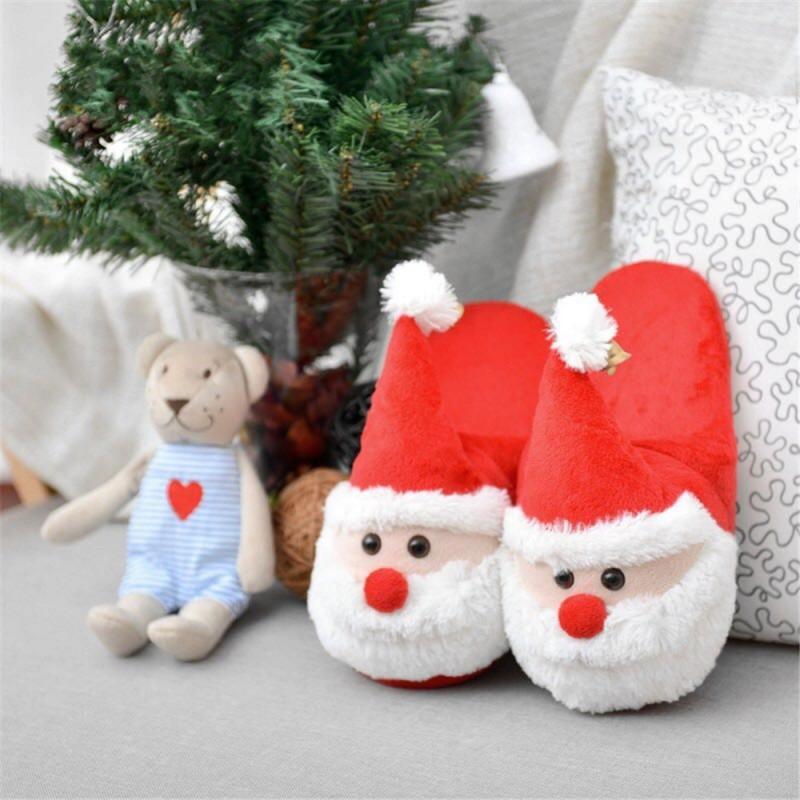 Cozy Christmas Santa Plush Slippers Memory Foam Non Slip Cotton Warm ...