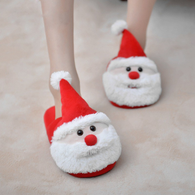 Cozy Christmas Santa Plush Slippers Memory Foam Non Slip