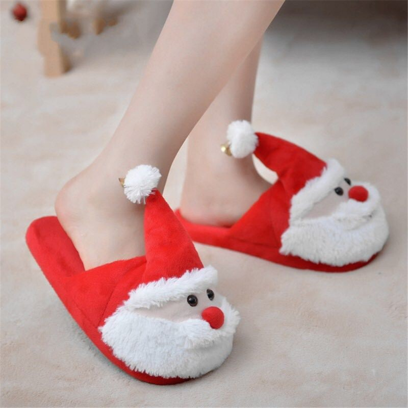 Cozy Christmas Santa Plush Slippers Memory Foam Non Slip Cotton Warm ...
