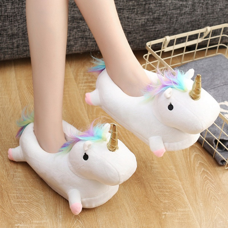 9b17e08bdfab White 3D Cute Plush Unicorn Light Up Slippers Foam Support Comfort Non Slip  Warm Soft House Indoor Slippers Shoes