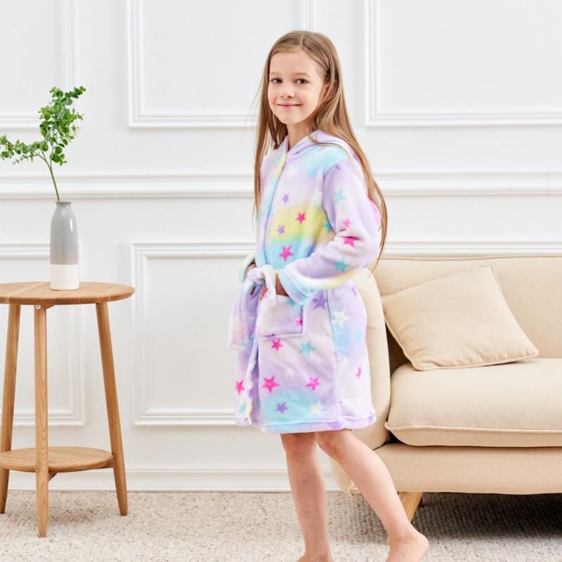 DRESHOW Soft Unicorn Hooded Bathrobe Sleepwear Unicorn Gifts for Girls