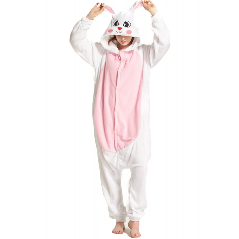 adult onesie, pajama Custom White rabbit kigurumi