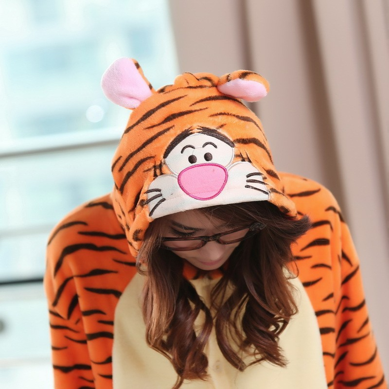 b891b6c463 Flannel Winnie the Pooh Tigger Animal Onesies Pajamas Kigurumi Costume