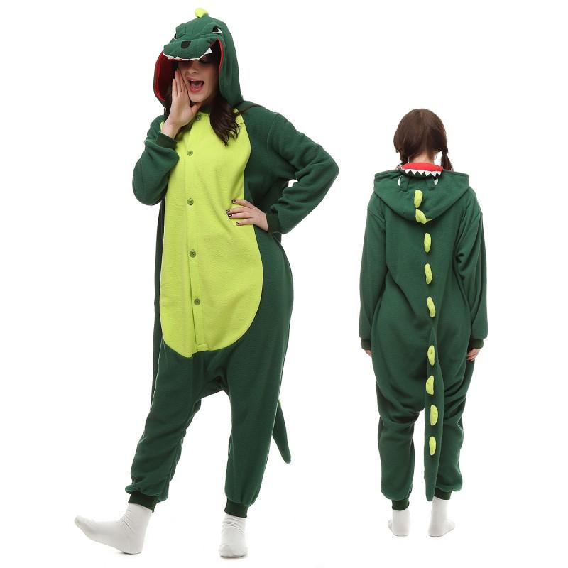 c1f24f0c774f Green Dinosaur Kigurumi Onesie Pajamas Animal Costumes For Adult