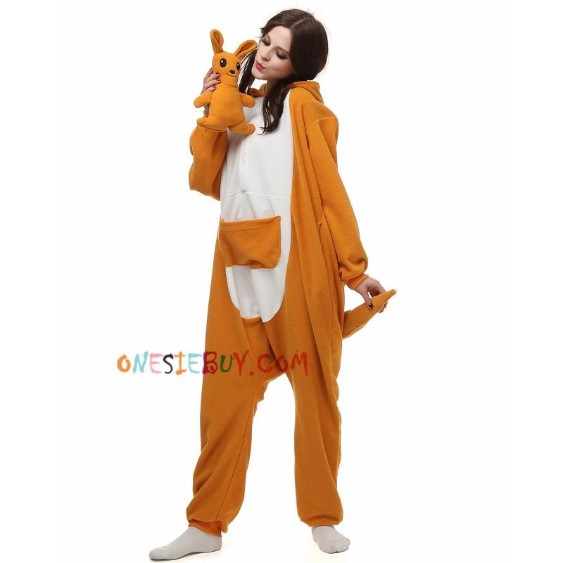 3619b9f1c01a Kangaroo Kigurumi Onesie Pajamas Animal Costumes For Adult