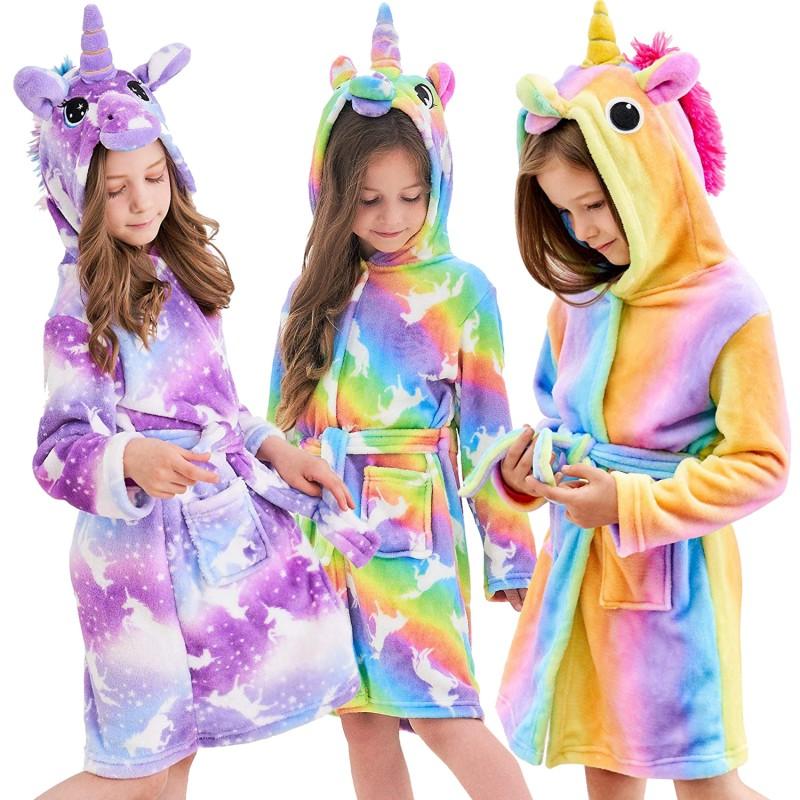 XmasPJS Boys Girls Bathrobes Soft Unicorn Hooded Bathrobe Sleepwear Unicorn Gifts for Girls