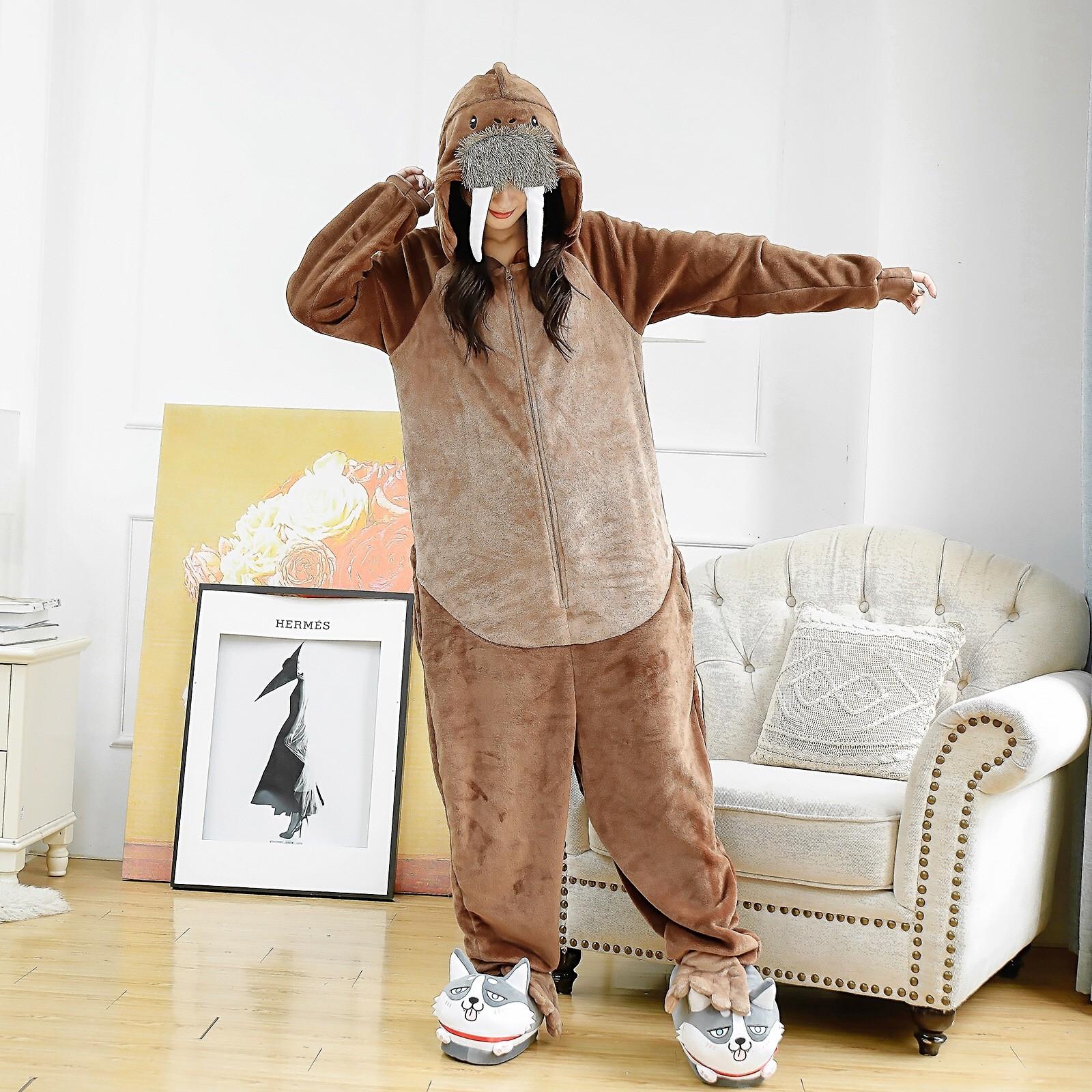 Details about  /Women Men Animal Kigurumi Cosplay Costume Walrus Pajamas for Adults Onesie0