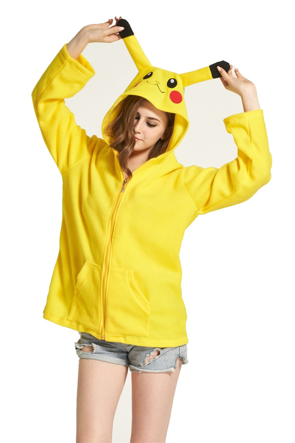 3563191025e6 Pikachu Animal Kigurumi Fleece Hoodie Coat Jacket