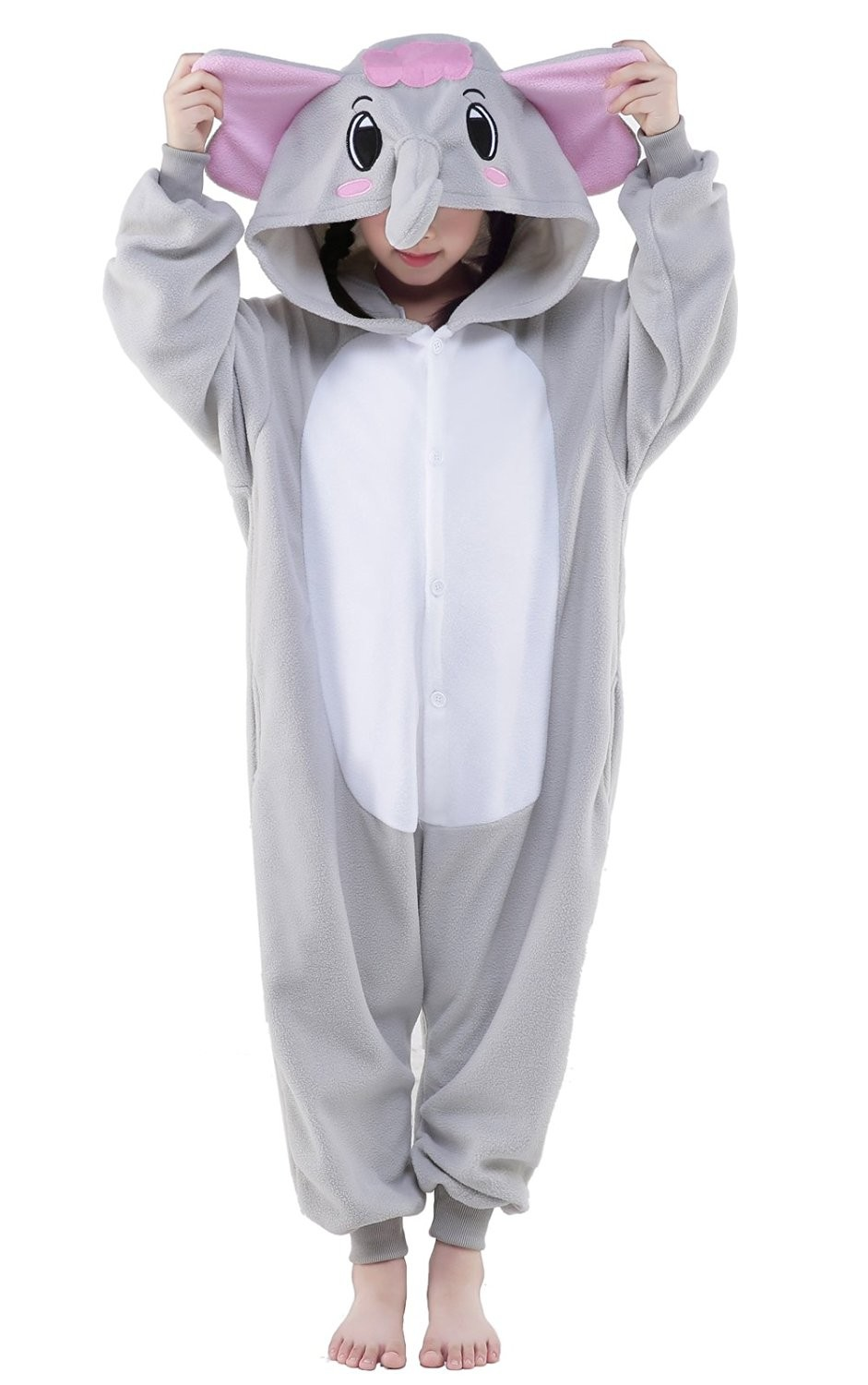 Grey elephant kigurumi onesie pajamas animal costumes for kids - Pyjama elephant ...