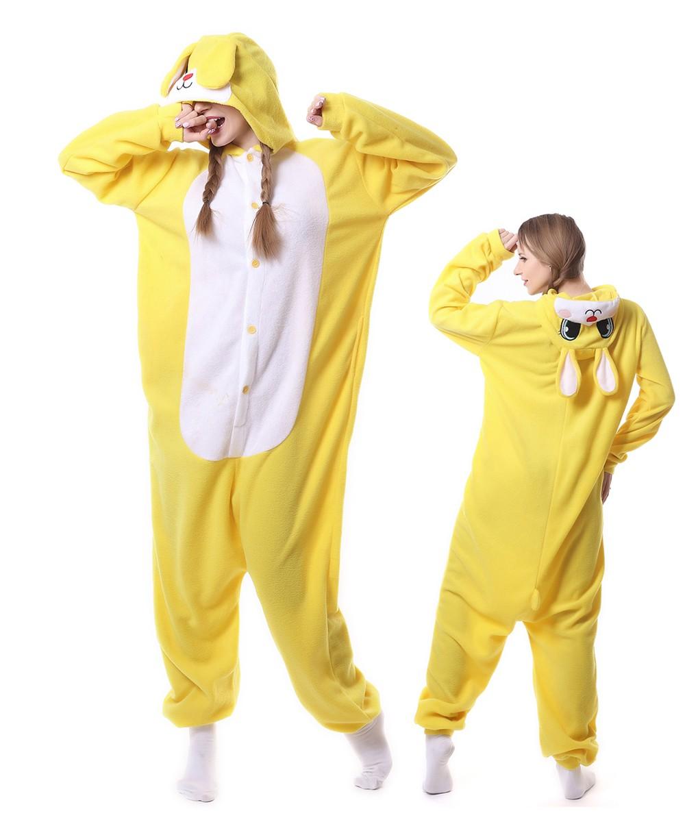 173455aec6e8 Yellow Rabbit Kigurumi Onesies Pajama For Adult