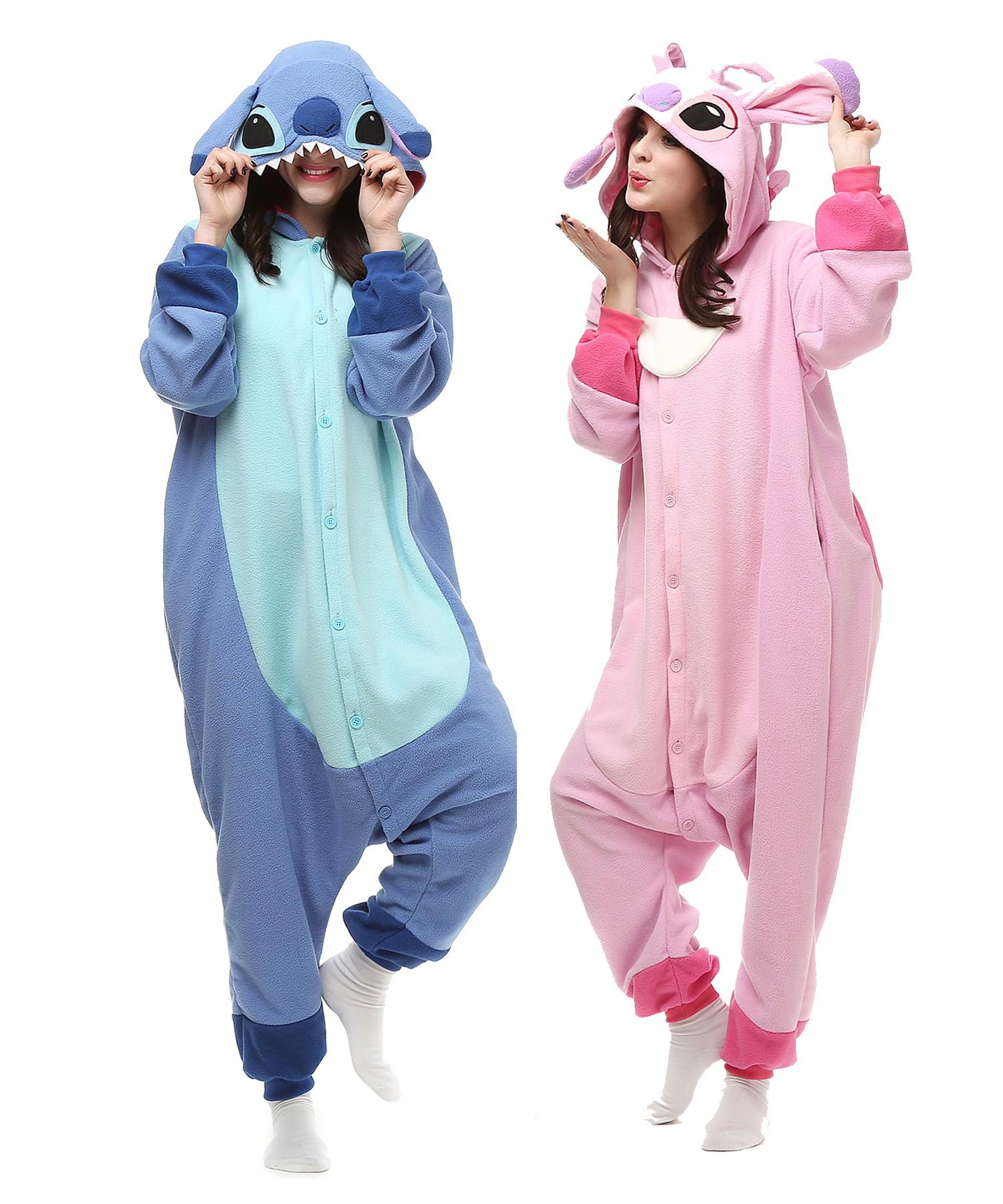 6869081bfacf Stitch And Angel Kigurumi Onesie Pajamas Animal Costumes For Adult   Teens