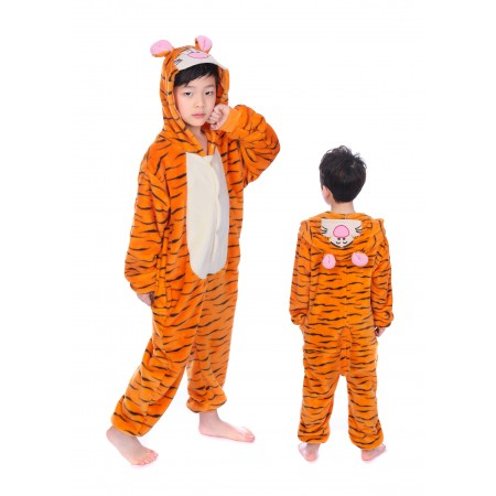 animal kigurumi yellow black Tigger onesie pajamas for kids