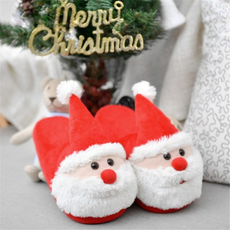 Cozy Christmas Santa Plush Slippers Memory Foam Non Slip Cotton Warm Soft House Slippers for Kids & Adults