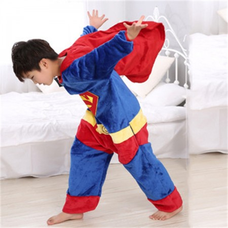 animal kigurumi blue red Superman onesie pajamas for kids