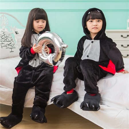 animal kigurumi black red Bat onesie pajamas for kids