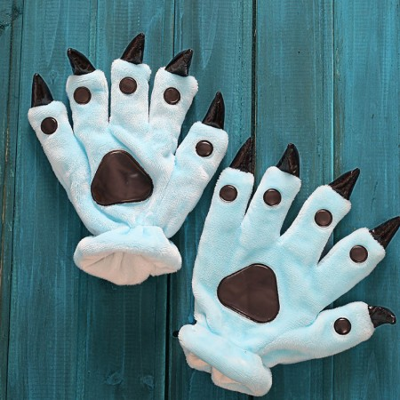 Sky blue Kigurumi Unisex Onesies Animal Hands Paw Flannel Cartoon Gloves