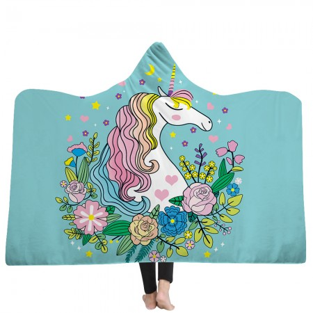 Blue Unicorn Hooded Blanket