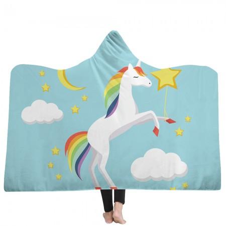 Cute Blue Unicorn Hooded Blanket