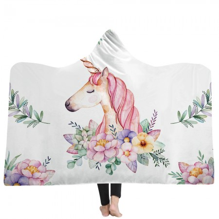 White Unicorn Hooded Blanket
