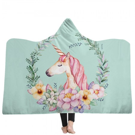 Blue Pink Unicorn Hooded Blanket