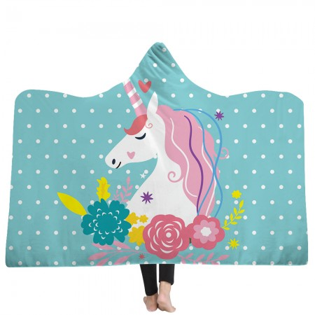 Polka Dot Unicorn Hooded Blanket