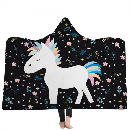 Black Unicorn Hooded Blanket