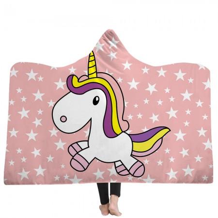 Pink Star Unicorn Hooded Blanket