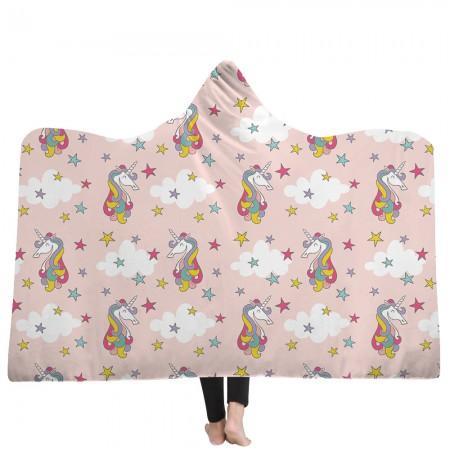 Rainbow Star Unicorn Hooded Blanket