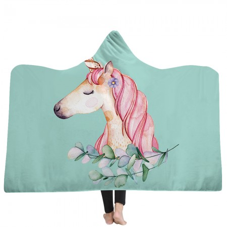 Pink Unicorn Princess Hooded Blanket