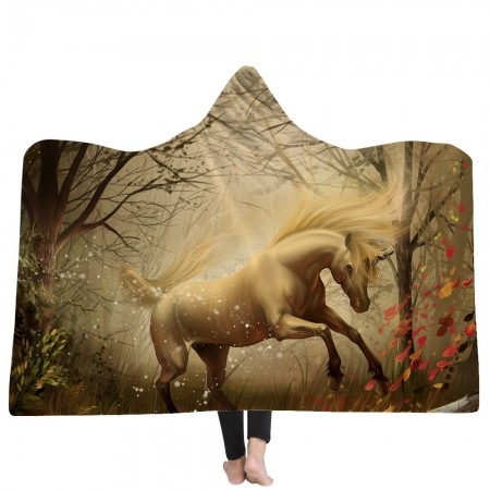 Cool White Unicorn Hooded Blanket