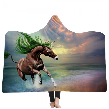 Brown Unicorn Hooded Blanket