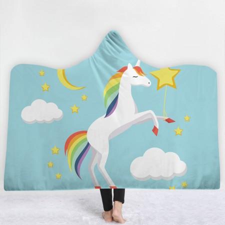 Baby Blue Unicorn Hooded Blanket