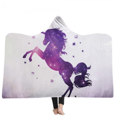 Purple Galaxy Unicorn Hooded Blanket