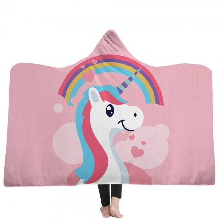 Rainbow Heart Unicorn Hooded Blanket
