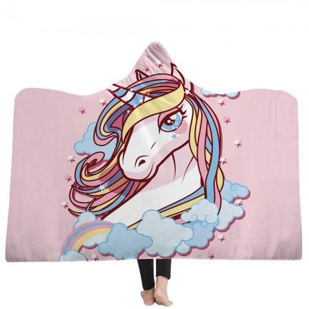 Rainbow Pink Unicorn Hooded Blanket