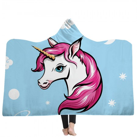 Unicorn Hooded Blanket with Pink Hair