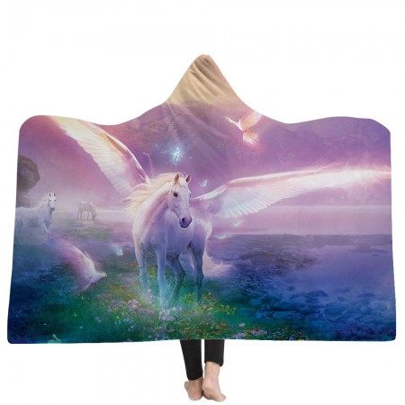 Purple Unicorns Hooded Blanket