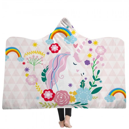 Pink Geometric Unicorn Hooded Blanket