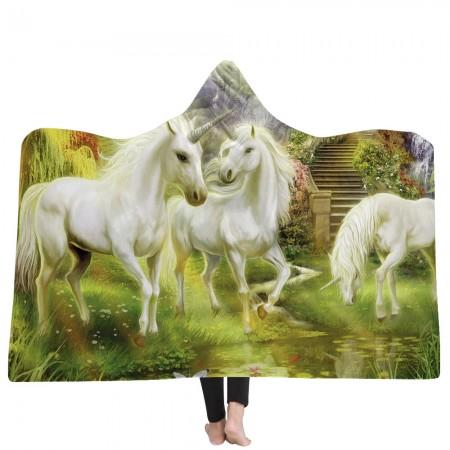 White Unicorns Hooded Blanket