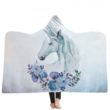 Blue Flower Unicorn Hooded Blanket