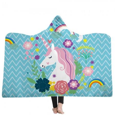 Blue Geometric Unicorn Hooded Blanket