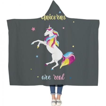 Unicorn Grey Hooded Blanket
