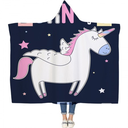 Cute White Unicorn Hooded Blanket