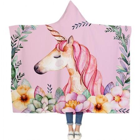 Pink Dream Unicorn Princess Hooded Blanket