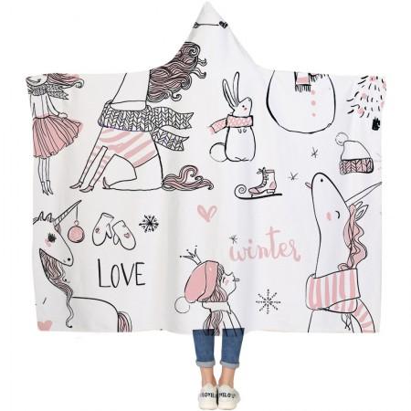 Unicorn Winter Hooded Blanket