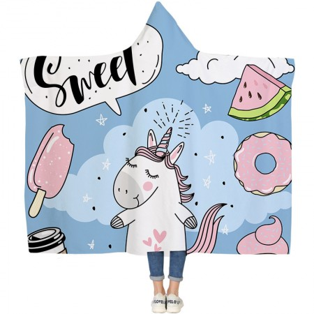 Sweat Candy Unicorn Hooded Blanket