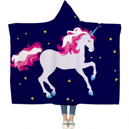 Navy Color Unicorn Hooded Blanket