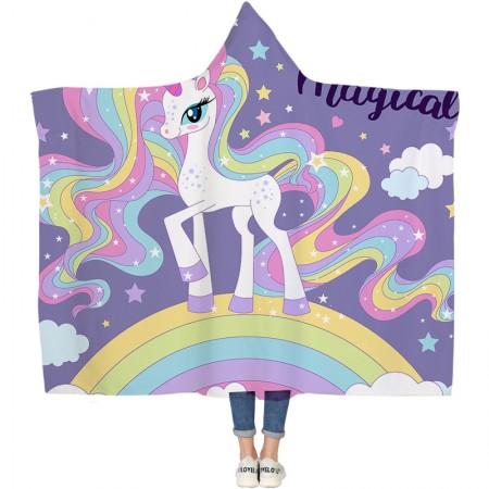 Rainbow Unicorn Princess Hooded Blanket