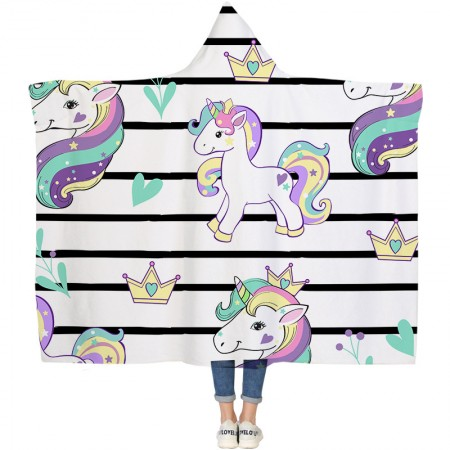 Stripe Unicorn Hooded Blanket