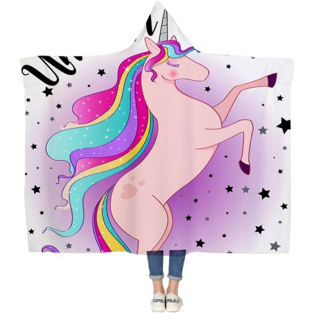 Unicorn Star Hooded Blanket
